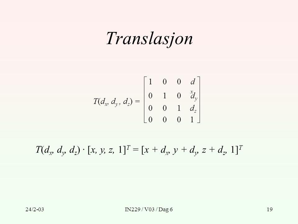 Translasjon 1. dx. dy. dz. T(dx, dy , dz) = T(dx, dy, dz) · [x, y, z, 1]T = [x + dx, y + dy, z + dz, 1]T.